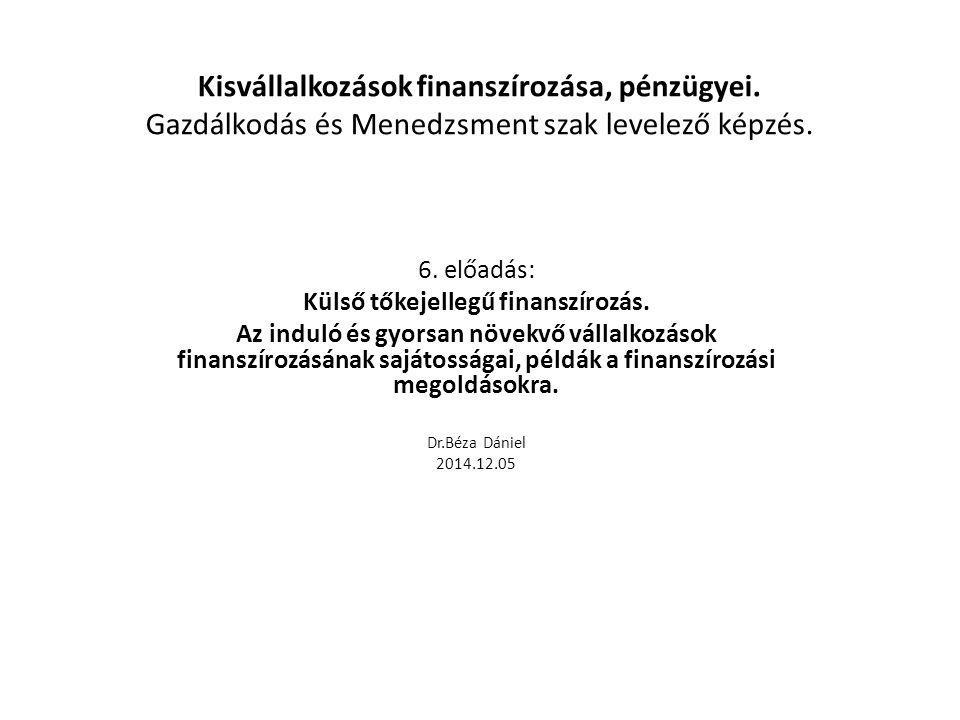 Kisvállalkozások finanszírozása, pénzügyei. Gazdálkodás és Menedzsment szak levelező képzés. 6. előadás: Külső tőkejellegű finanszírozás. Az induló és