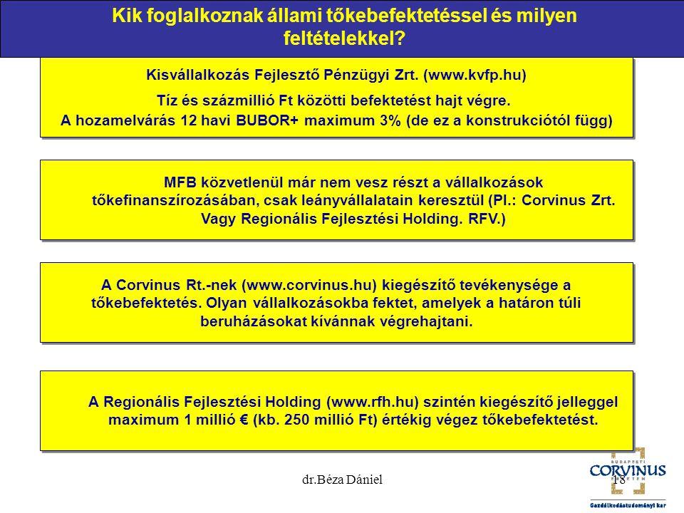 18 Kik foglalkoznak állami tőkebefektetéssel és milyen feltételekkel? Kisvállalkozás Fejlesztő Pénzügyi Zrt. (www.kvfp.hu) Tíz és százmillió Ft között