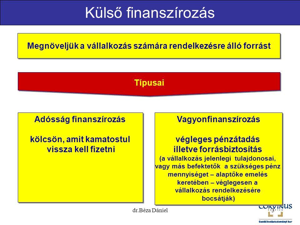 3 Külső finanszírozás Megnöveljük a vállalkozás számára rendelkezésre álló forrást Típusai Adósság finanszírozás kölcsön, amit kamatostul vissza kell