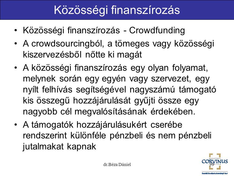 Közösségi finanszírozás Közösségi finanszírozás - Crowdfunding A crowdsourcingból, a tömeges vagy közösségi kiszervezésből nőtte ki magát A közösségi