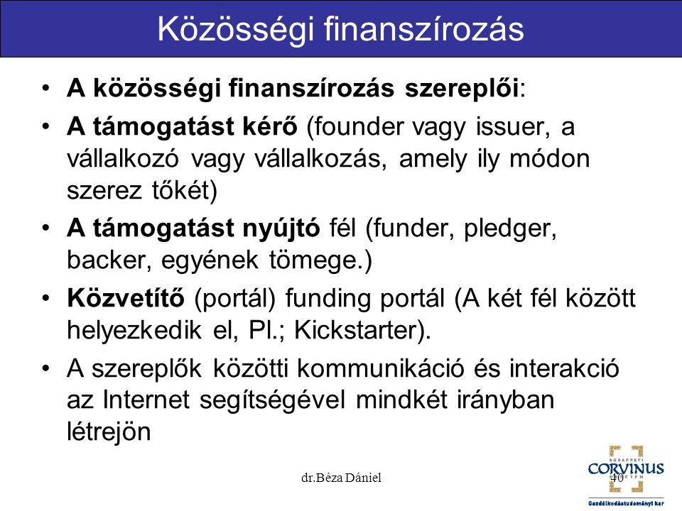 Közösségi finanszírozás A közösségi finanszírozás szereplői: A támogatást kérő (founder vagy issuer, a vállalkozó vagy vállalkozás, amely ily módon sz