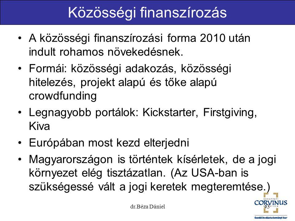 Közösségi finanszírozás A közösségi finanszírozási forma 2010 után indult rohamos növekedésnek. Formái: közösségi adakozás, közösségi hitelezés, proje