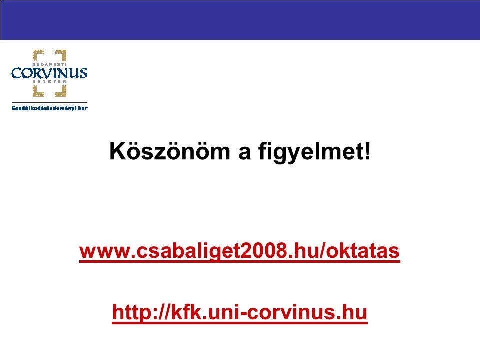 Köszönöm a figyelmet! www.csabaliget2008.hu/oktatas http://kfk.uni-corvinus.hu