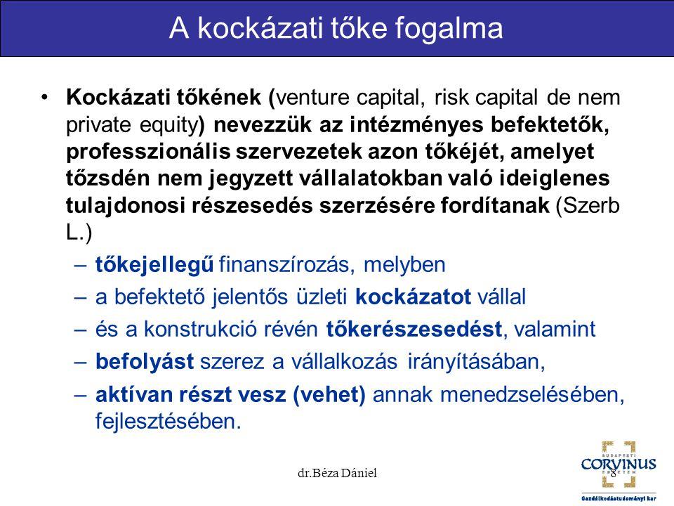 8 A kockázati tőke fogalma Kockázati tőkének (venture capital, risk capital de nem private equity) nevezzük az intézményes befektetők, professzionális