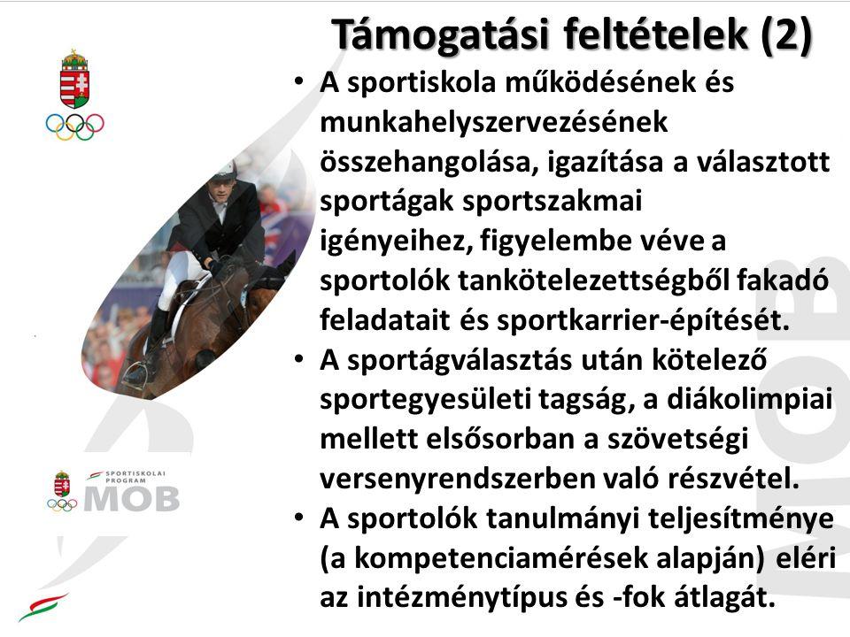 Támogatási feltételek (2) A sportiskola működésének és munkahelyszervezésének összehangolása, igazítása a választott sportágak sportszakmai igényeihez