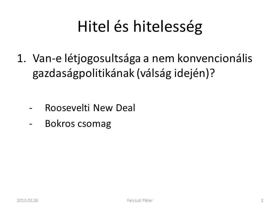 Hitel és hitelesség 1.Van-e létjogosultsága a nem konvencionális gazdaságpolitikának (válság idején).