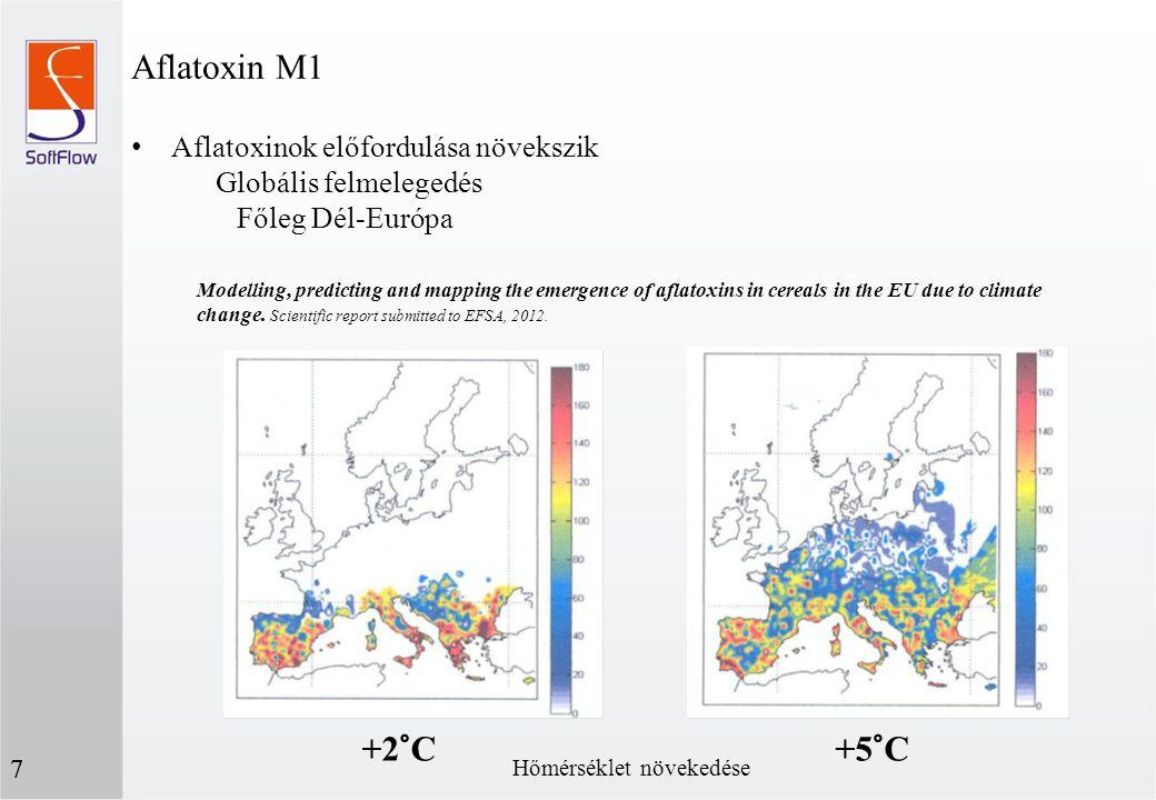 Aflatoxinok előfordulása növekszik Globális felmelegedés Főleg Dél-Európa Aflatoxin M1 7 Modelling, predicting and mapping the emergence of aflatoxins
