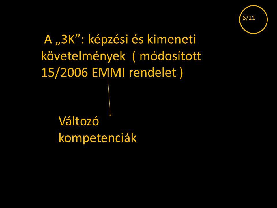 """A """"3K"""": képzési és kimeneti követelmények ( módosított 15/2006 EMMI rendelet ) Változó kompetenciák 6/11"""