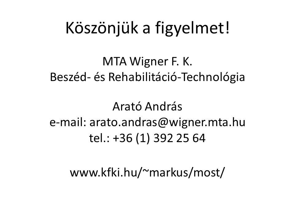 Köszönjük a figyelmet! MTA Wigner F. K. Beszéd- és Rehabilitáció-Technológia Arató András e-mail: arato.andras@wigner.mta.hu tel.: +36 (1) 392 25 64 w