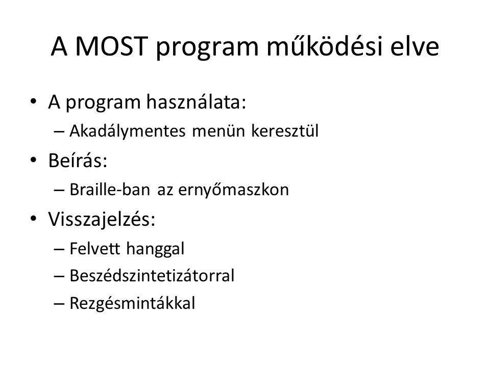 A MOST program működési elve A program használata: – Akadálymentes menün keresztül Beírás: – Braille-ban az ernyőmaszkon Visszajelzés: – Felvett hanggal – Beszédszintetizátorral – Rezgésmintákkal