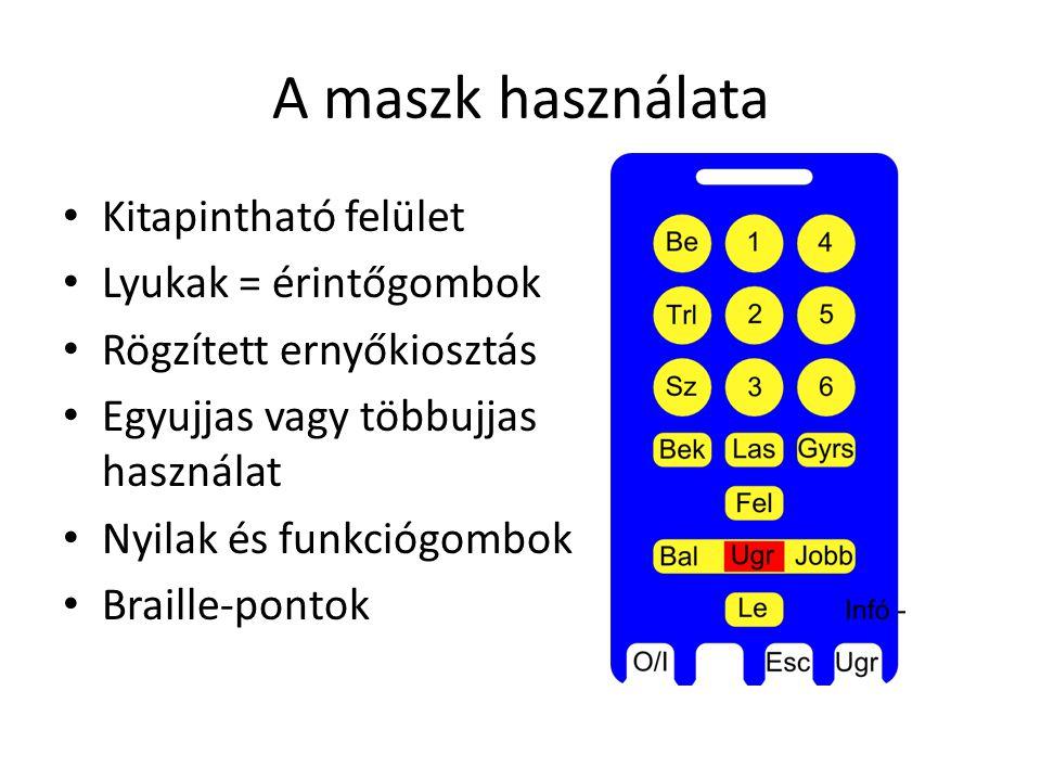 A maszk használata Kitapintható felület Lyukak = érintőgombok Rögzített ernyőkiosztás Egyujjas vagy többujjas használat Nyilak és funkciógombok Braill
