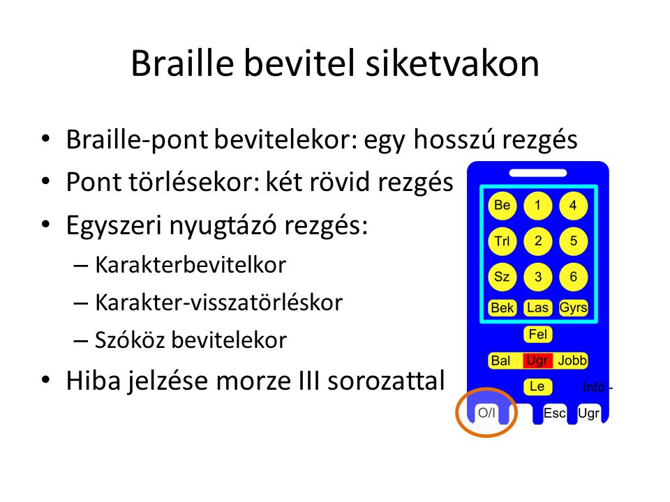 Braille bevitel siketvakon Braille-pont bevitelekor: egy hosszú rezgés Pont törlésekor: két rövid rezgés Egyszeri nyugtázó rezgés: – Karakterbevitelkor – Karakter-visszatörléskor – Szóköz bevitelekor Hiba jelzése morze III sorozattal