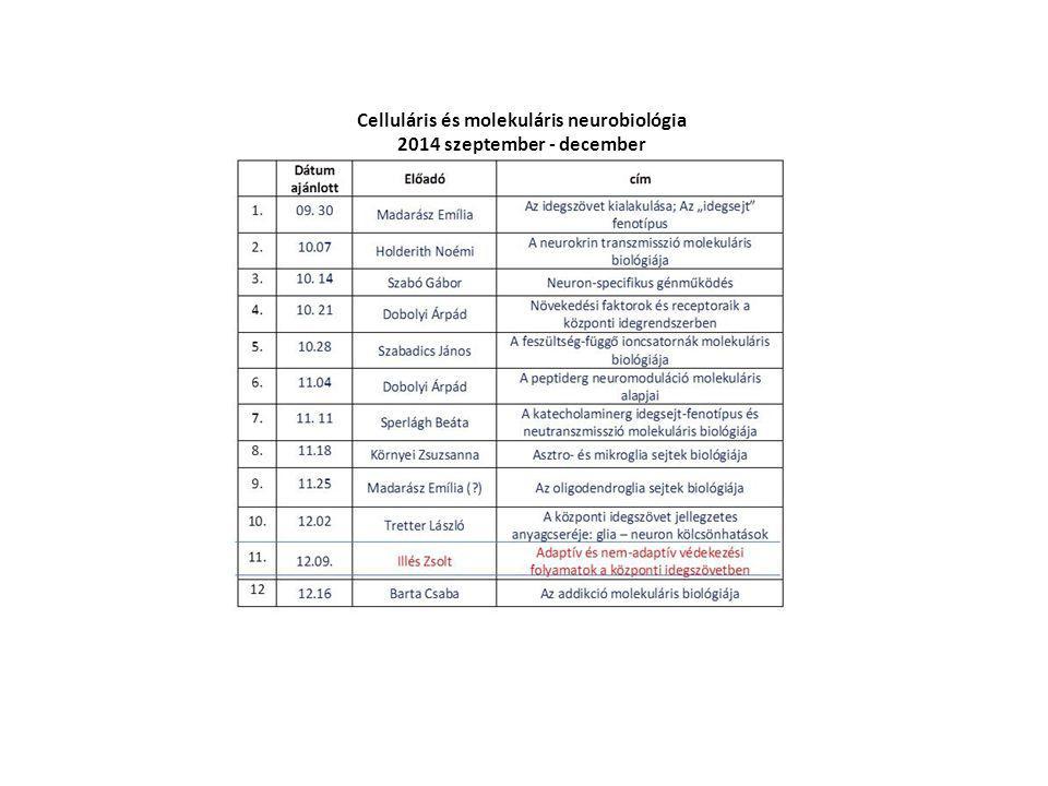 Celluláris és molekuláris neurobiológia 2014 szeptember - december
