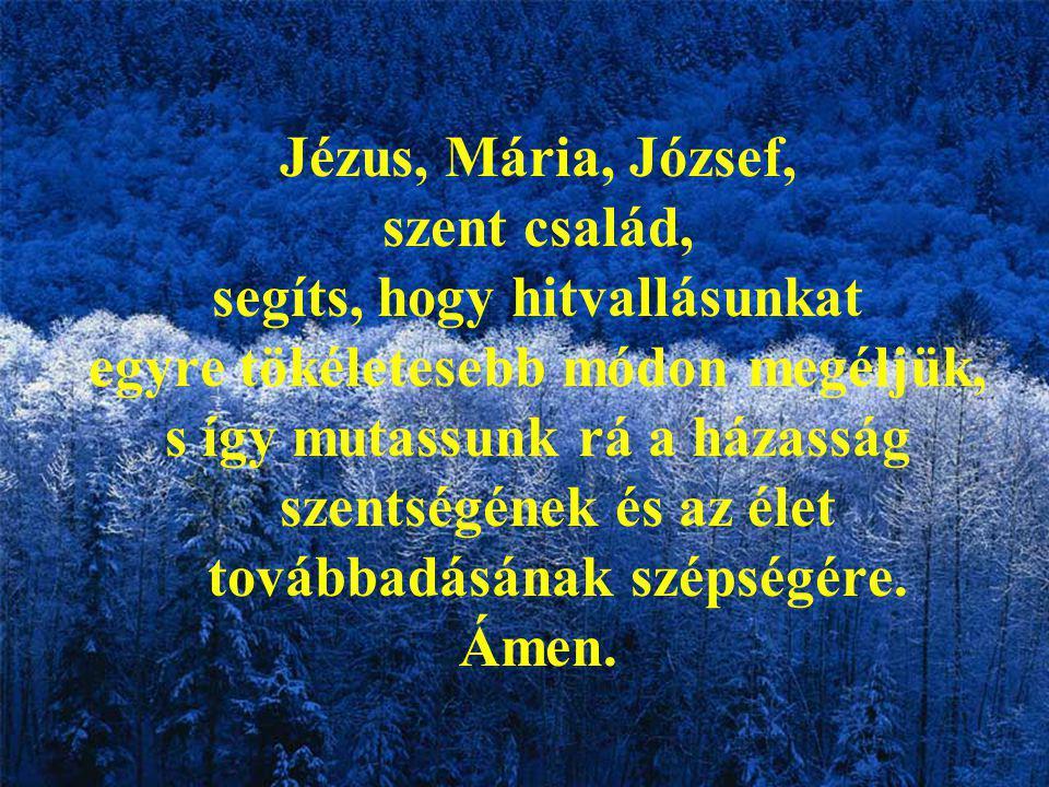 Jézus, Mária, József, szent család, segíts, hogy hitvallásunkat egyre tökéletesebb módon megéljük, s így mutassunk rá a házasság szentségének és az élet továbbadásának szépségére.