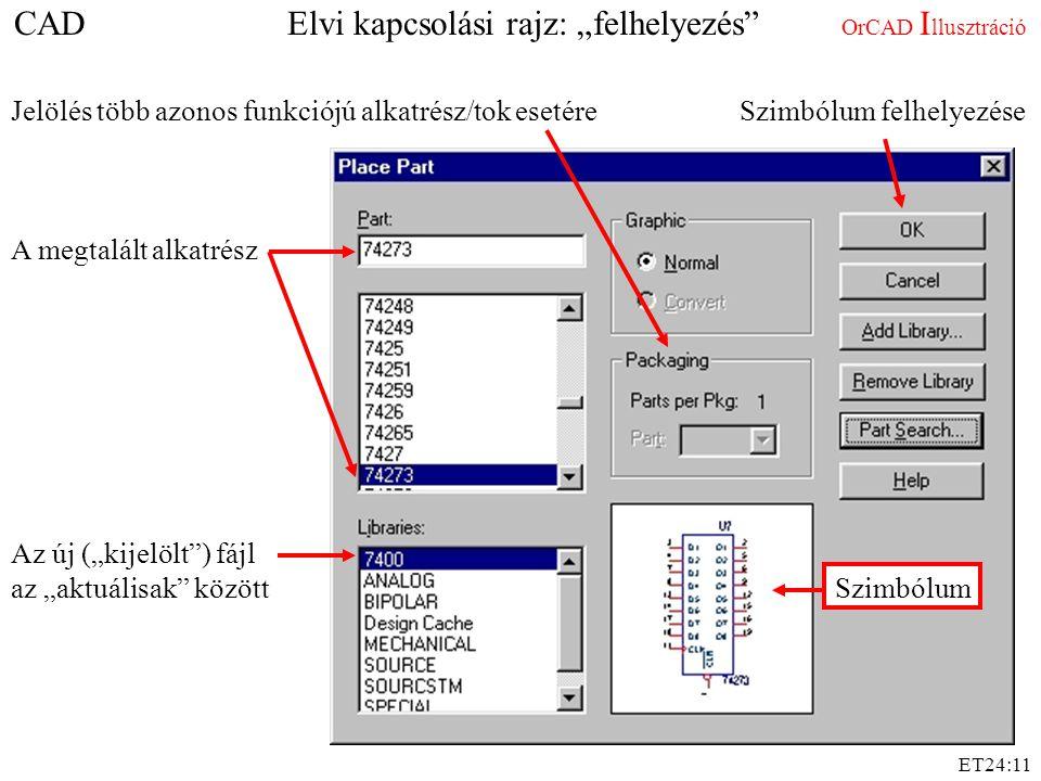 """ET24:11 Az új (""""kijelölt"""") fájl az """"aktuálisak"""" között A megtalált alkatrész Jelölés több azonos funkciójú alkatrész/tok esetére Szimbólum CAD Elvi ka"""