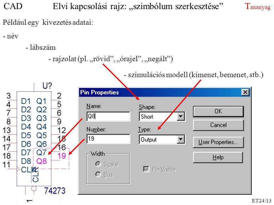 """ET24:13 Például egy kivezetés adatai: - név - lábszám - rajzolat (pl. """"rövid"""", """"órajel"""", """"negált"""") - szimulációs modell (kimenet, bemenet, stb.) CAD E"""