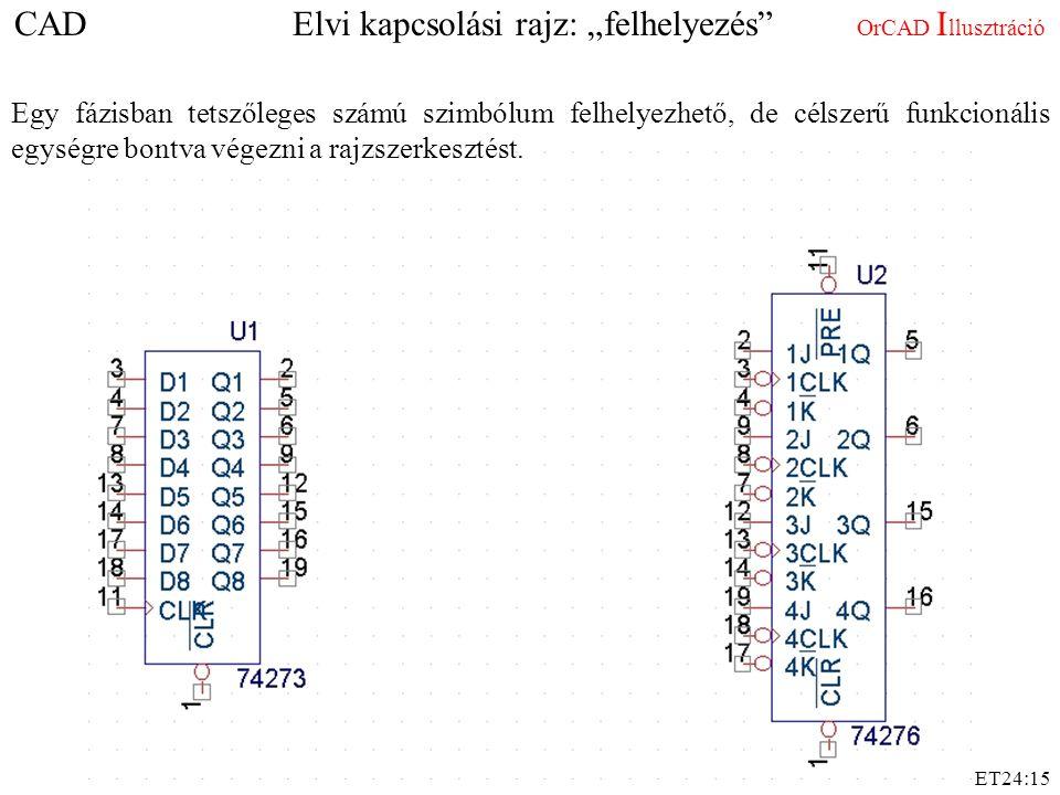 """ET24:15 CAD Elvi kapcsolási rajz: """"felhelyezés"""" OrCAD I llusztráció Egy fázisban tetszőleges számú szimbólum felhelyezhető, de célszerű funkcionális e"""
