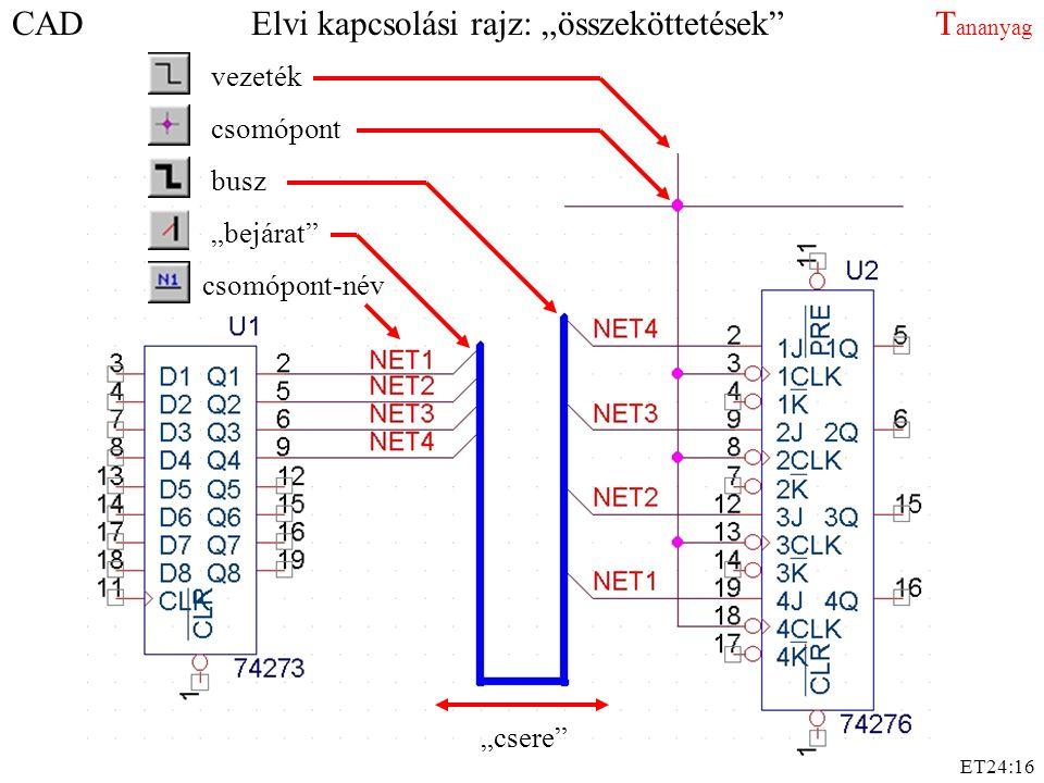 """ET24:16 CAD Elvi kapcsolási rajz: """"összeköttetések"""" T ananyag vezeték csomópont busz """"bejárat"""" csomópont-név """"csere"""""""