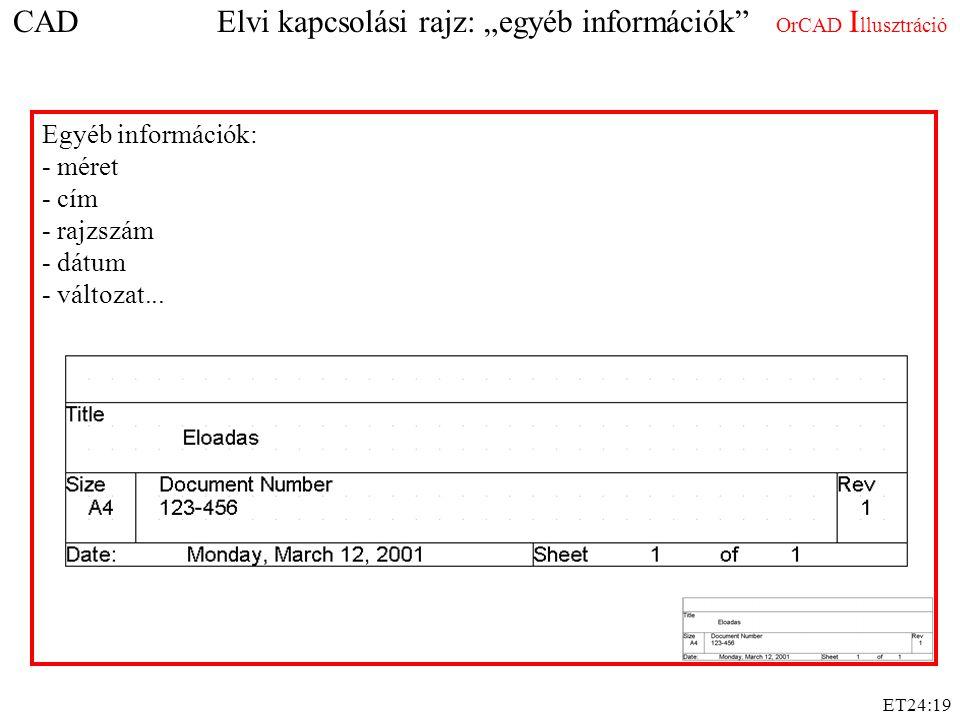 """ET24:19 CAD Elvi kapcsolási rajz: """"egyéb információk"""" OrCAD I llusztráció Egyéb információk: - méret - cím - rajzszám - dátum - változat..."""