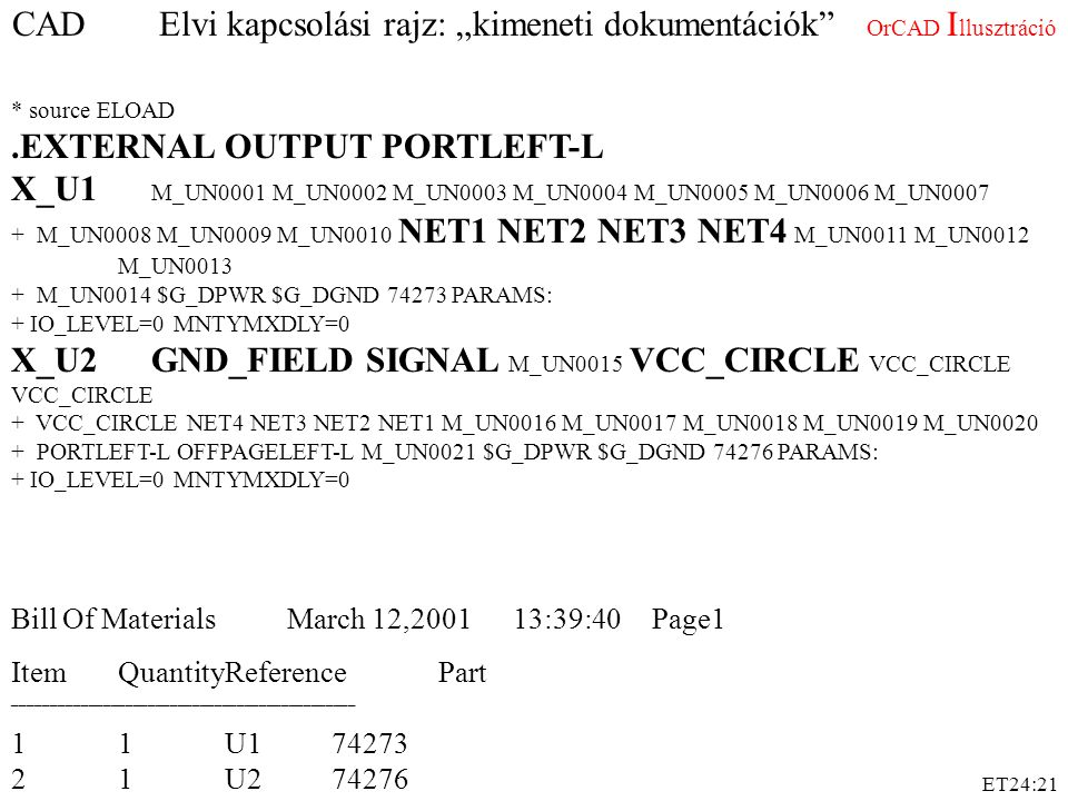 """ET24:21 CAD Elvi kapcsolási rajz: """"kimeneti dokumentációk"""" OrCAD I llusztráció * source ELOAD.EXTERNAL OUTPUT PORTLEFT-L X_U1 M_UN0001 M_UN0002 M_UN00"""