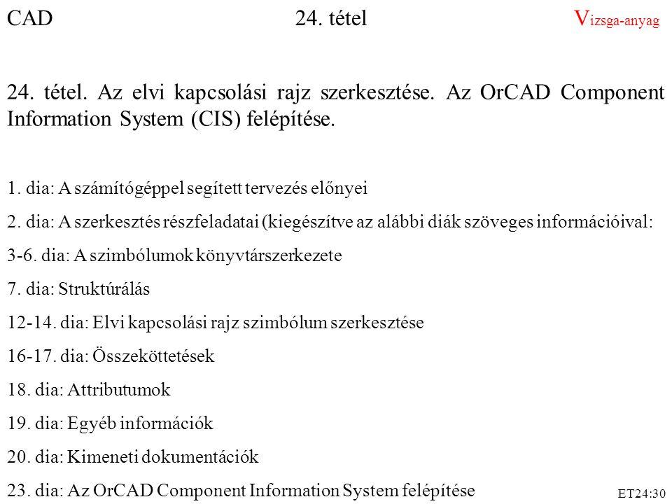 ET24:30 CAD 24. tétel V izsga-anyag 24. tétel. Az elvi kapcsolási rajz szerkesztése. Az OrCAD Component Information System (CIS) felépítése. 1. dia: A
