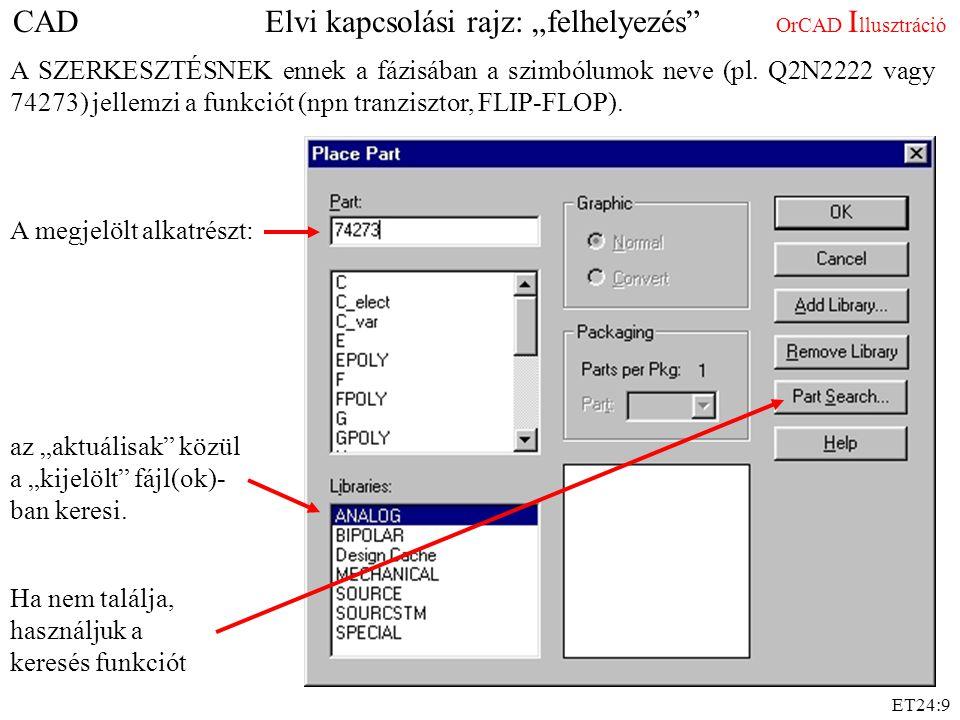 """ET24:9 CAD Elvi kapcsolási rajz: """"felhelyezés"""" OrCAD I llusztráció A SZERKESZTÉSNEK ennek a fázisában a szimbólumok neve (pl. Q2N2222 vagy 74273) jell"""