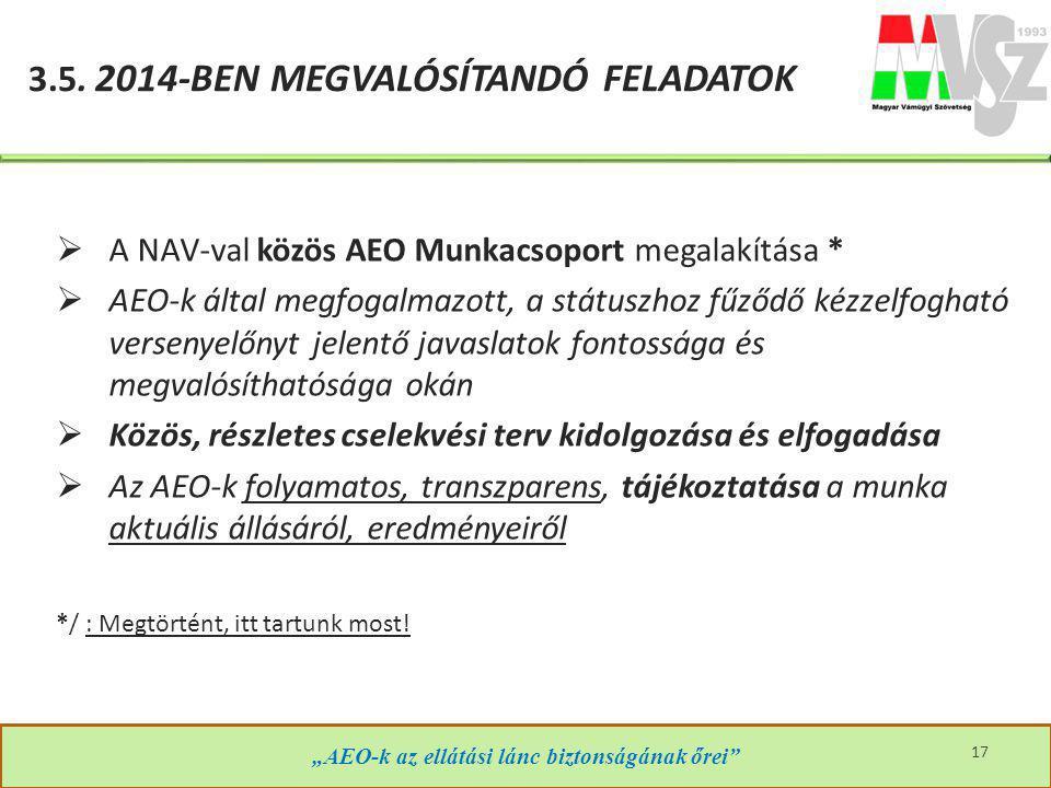 """3.5. 2014-BEN MEGVALÓSÍTANDÓ FELADATOK """"AEO-k az ellátási lánc biztonságának őrei""""  A NAV-val közös AEO Munkacsoport megalakítása *  AEO-k által meg"""