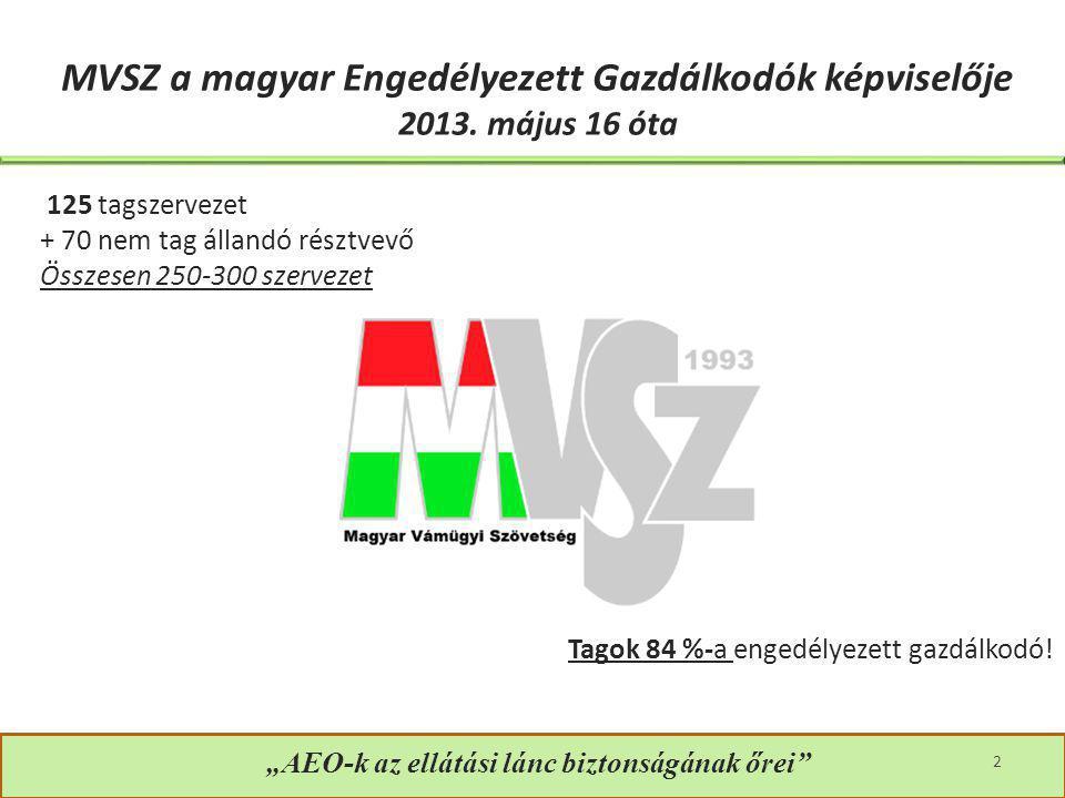"""""""AEO-k az ellátási lánc biztonságának őrei"""" 2 MVSZ a magyar Engedélyezett Gazdálkodók képviselője 2013. május 16 óta 125 tagszervezet + 70 nem tag áll"""