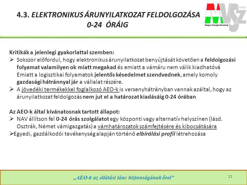 """""""AEO-k az ellátási lánc biztonságának őrei"""" 21 4.3. ELEKTRONIKUS ÁRUNYILATKOZAT FELDOLGOZÁSA 0-24 ÓRÁIG Kritikák a jelenlegi gyakorlattal szemben:  S"""