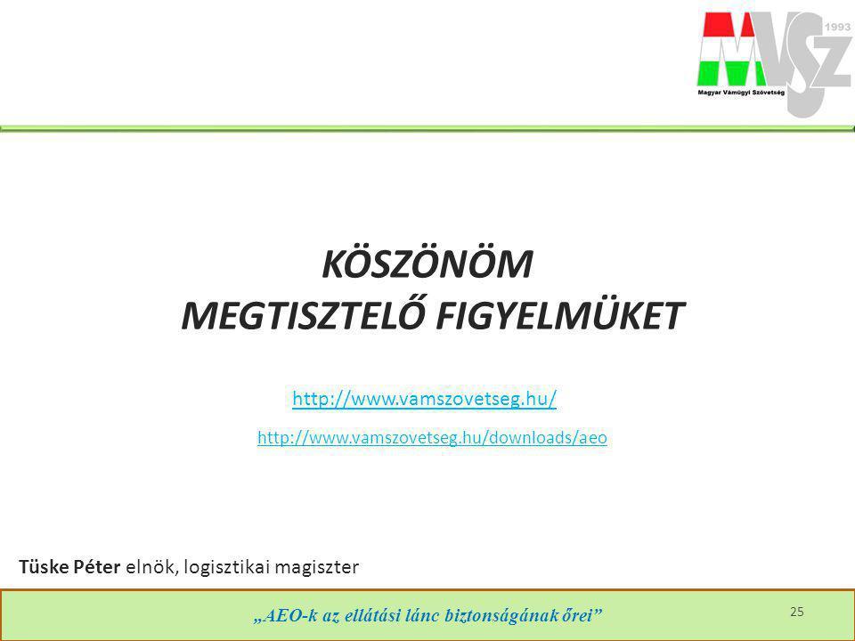 """KÖSZÖNÖM MEGTISZTELŐ FIGYELMÜKET http://www.vamszovetseg.hu/ """"AEO-k az ellátási lánc biztonságának őrei"""" http://www.vamszovetseg.hu/downloads/aeo 25 T"""