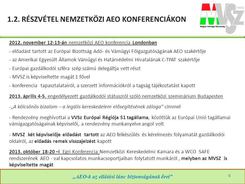 """1.2. RÉSZVÉTEL NEMZETKÖZI AEO KONFERENCIÁKON """"AEO-k az ellátási lánc biztonságának őrei"""" 2012. november 12-13-án nemzetközi AEO konferencia Londonban"""