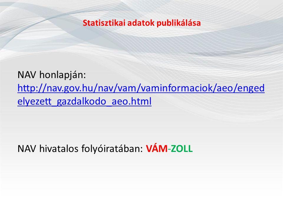 Statisztikai adatok publikálása NAV honlapján: http://nav.gov.hu/nav/vam/vaminformaciok/aeo/enged elyezett_gazdalkodo_aeo.html http://nav.gov.hu/nav/v