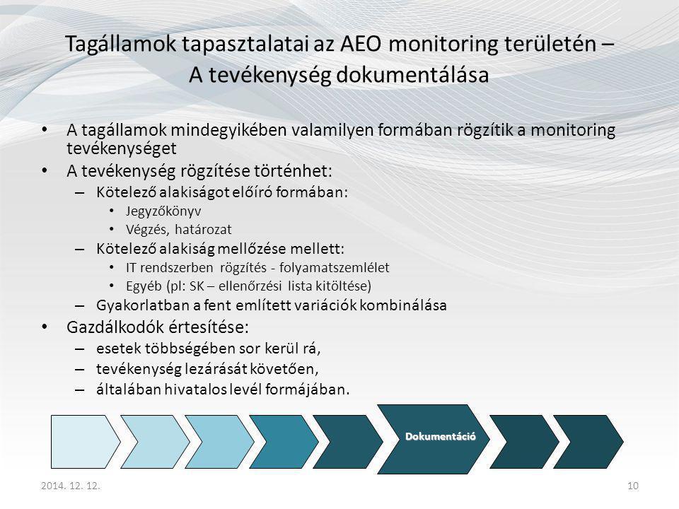 10 Tagállamok tapasztalatai az AEO monitoring területén – A tevékenység dokumentálása A tagállamok mindegyikében valamilyen formában rögzítik a monitoring tevékenységet A tevékenység rögzítése történhet: – Kötelező alakiságot előíró formában: Jegyzőkönyv Végzés, határozat – Kötelező alakiság mellőzése mellett: IT rendszerben rögzítés - folyamatszemlélet Egyéb (pl: SK – ellenőrzési lista kitöltése) – Gyakorlatban a fent említett variációk kombinálása Gazdálkodók értesítése: – esetek többségében sor kerül rá, – tevékenység lezárását követően, – általában hivatalos levél formájában.