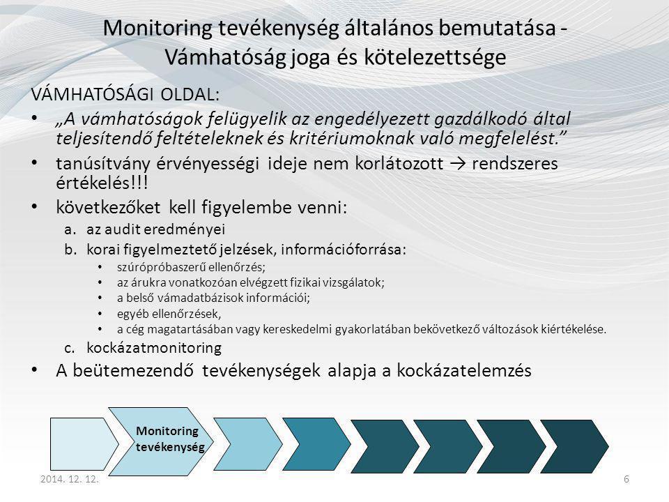 """2014. 12. 12.6 Monitoring tevékenység általános bemutatása - Vámhatóság joga és kötelezettsége VÁMHATÓSÁGI OLDAL: """"A vámhatóságok felügyelik az engedé"""