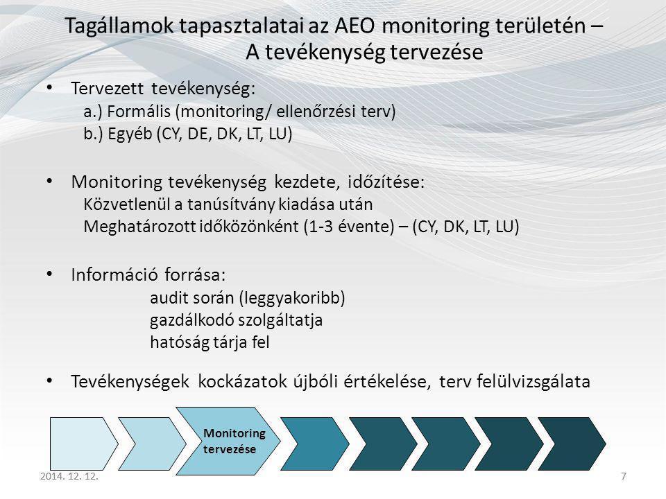 2014. 12. 12.7 Tagállamok tapasztalatai az AEO monitoring területén – A tevékenység tervezése Tervezett tevékenység: a.) Formális (monitoring/ ellenőr