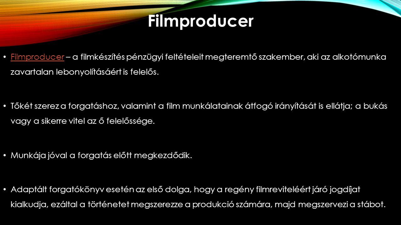 Filmproducer Filmproducer – a filmkészítés pénzügyi feltételeit megteremtő szakember, aki az alkotómunka zavartalan lebonyolításáért is felelős. Filmp