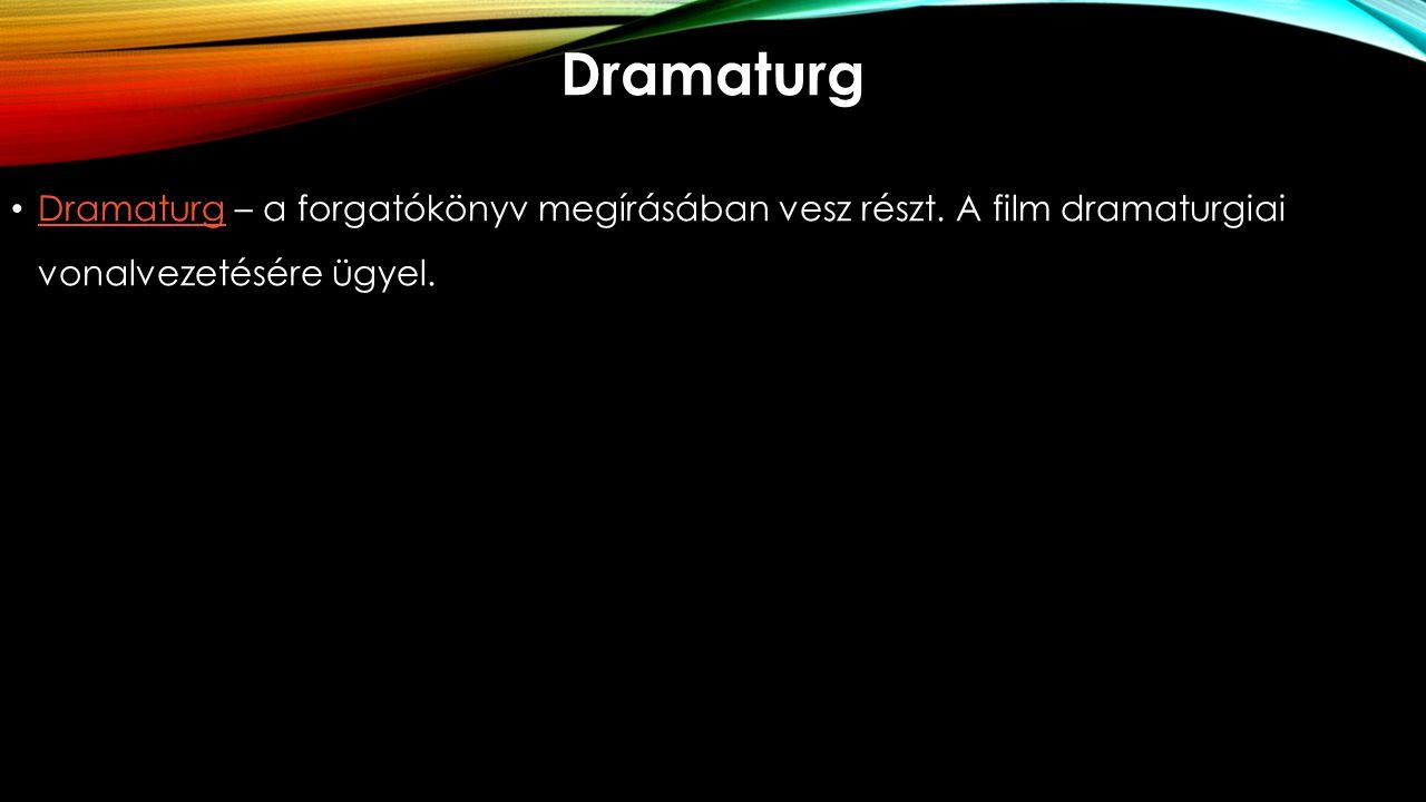 Dramaturg Dramaturg – a forgatókönyv megírásában vesz részt. A film dramaturgiai vonalvezetésére ügyel. Dramaturg