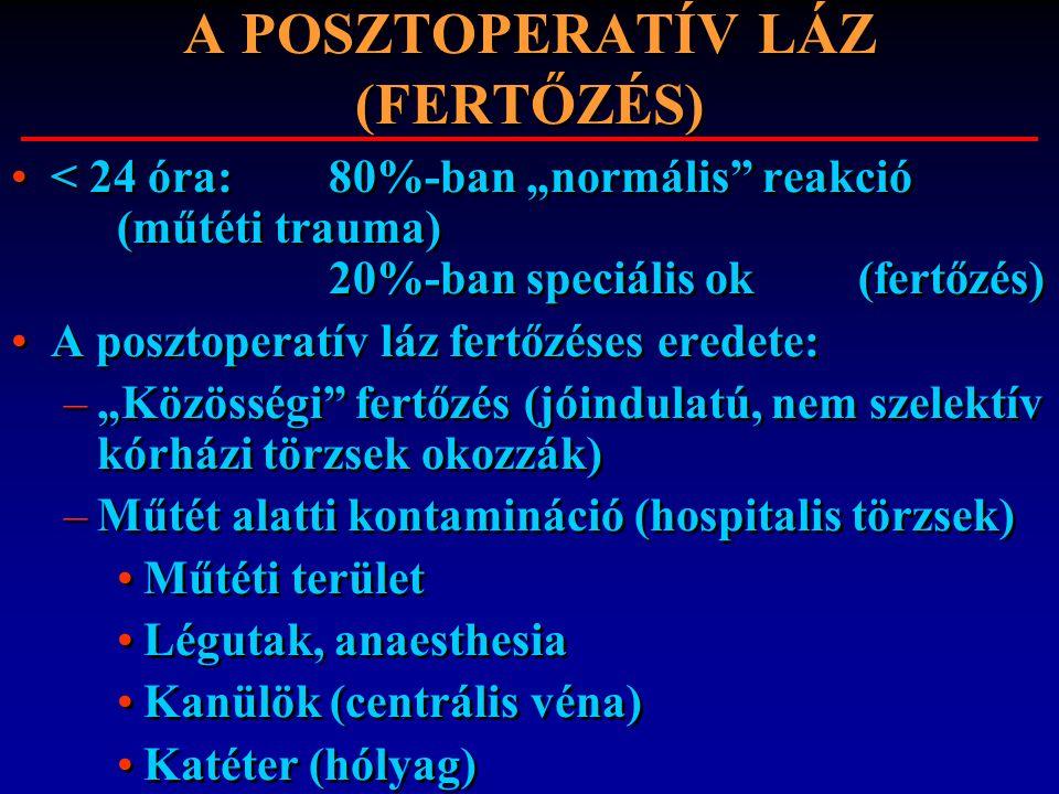"""A POSZTOPERATÍV LÁZ (FERTŐZÉS) < 24 óra: 80%-ban """"normális"""" reakció (műtéti trauma) 20%-ban speciális ok (fertőzés) A posztoperatív láz fertőzéses ere"""