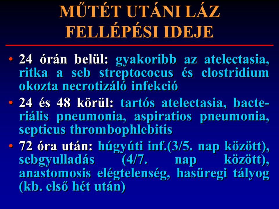 MŰTÉT UTÁNI LÁZ FELLÉPÉSI IDEJE 24 órán belül: gyakoribb az atelectasia, ritka a seb streptococus és clostridium okozta necrotizáló infekció 24 és 48