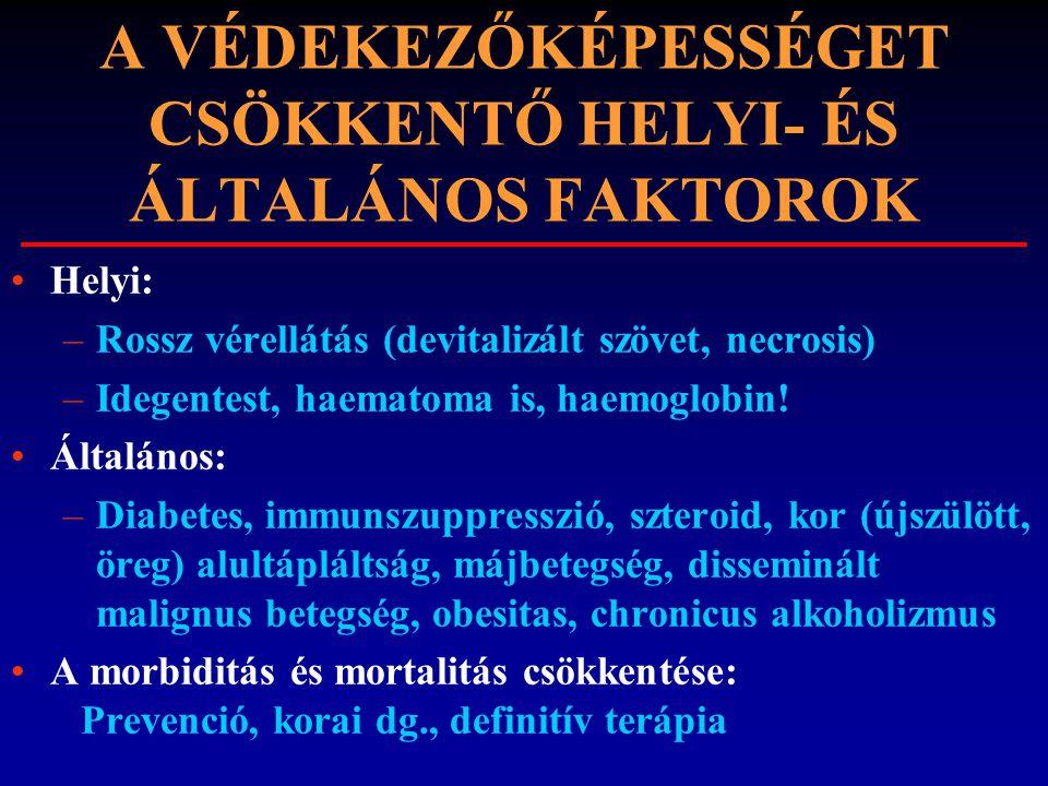 A VÉDEKEZŐKÉPESSÉGET CSÖKKENTŐ HELYI- ÉS ÁLTALÁNOS FAKTOROK Helyi: –Rossz vérellátás (devitalizált szövet, necrosis) –Idegentest, haematoma is, haemog