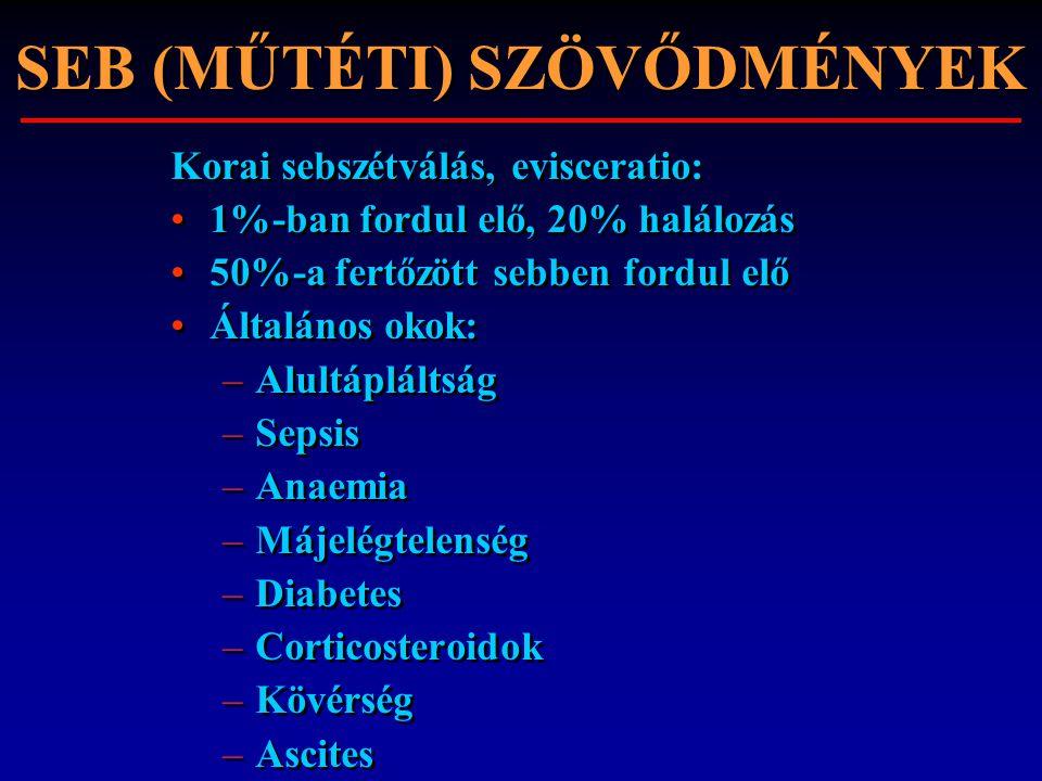 SEB (MŰTÉTI) SZÖVŐDMÉNYEK Korai sebszétválás, evisceratio: 1%-ban fordul elő, 20% halálozás 50%-a fertőzött sebben fordul elő Általános okok: –Alultáp