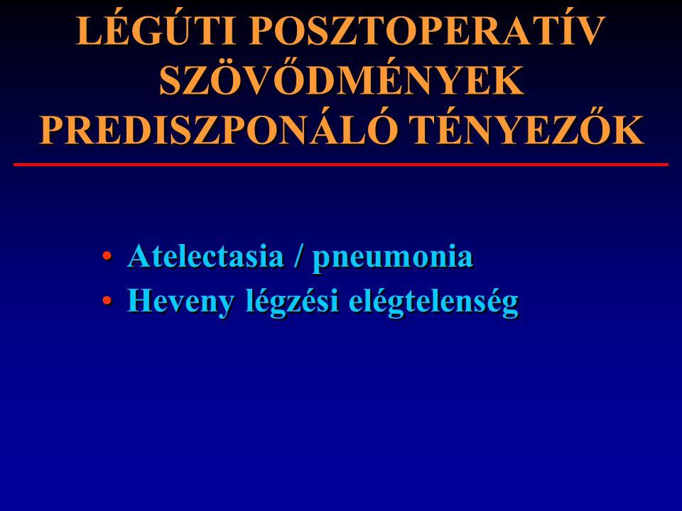 LÉGÚTI POSZTOPERATÍV SZÖVŐDMÉNYEK PREDISZPONÁLÓ TÉNYEZŐK Atelectasia / pneumonia Heveny légzési elégtelenség Atelectasia / pneumonia Heveny légzési el
