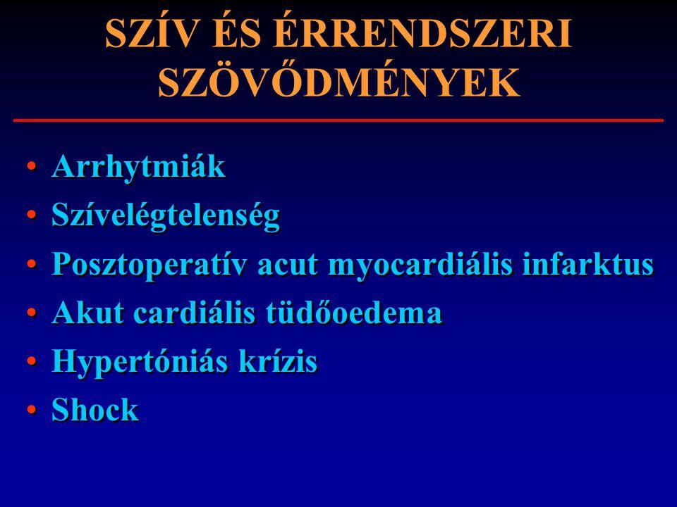 SZÍV ÉS ÉRRENDSZERI SZÖVŐDMÉNYEK Arrhytmiák Szívelégtelenség Posztoperatív acut myocardiális infarktus Akut cardiális tüdőoedema Hypertóniás krízis Sh