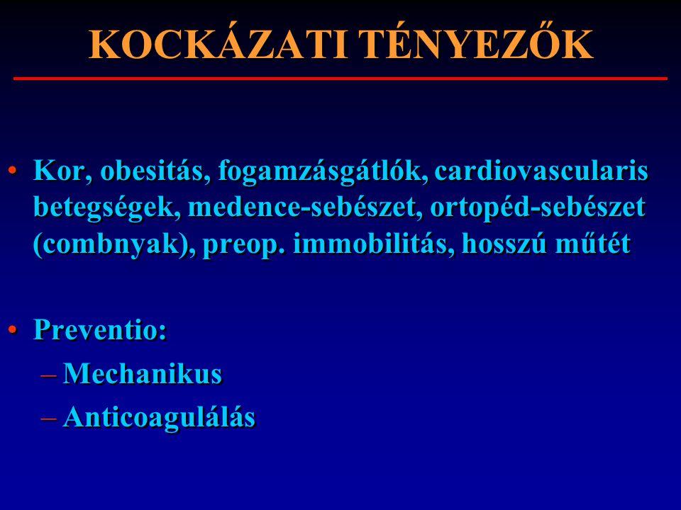 KOCKÁZATI TÉNYEZŐK Kor, obesitás, fogamzásgátlók, cardiovascularis betegségek, medence-sebészet, ortopéd-sebészet (combnyak), preop. immobilitás, hoss