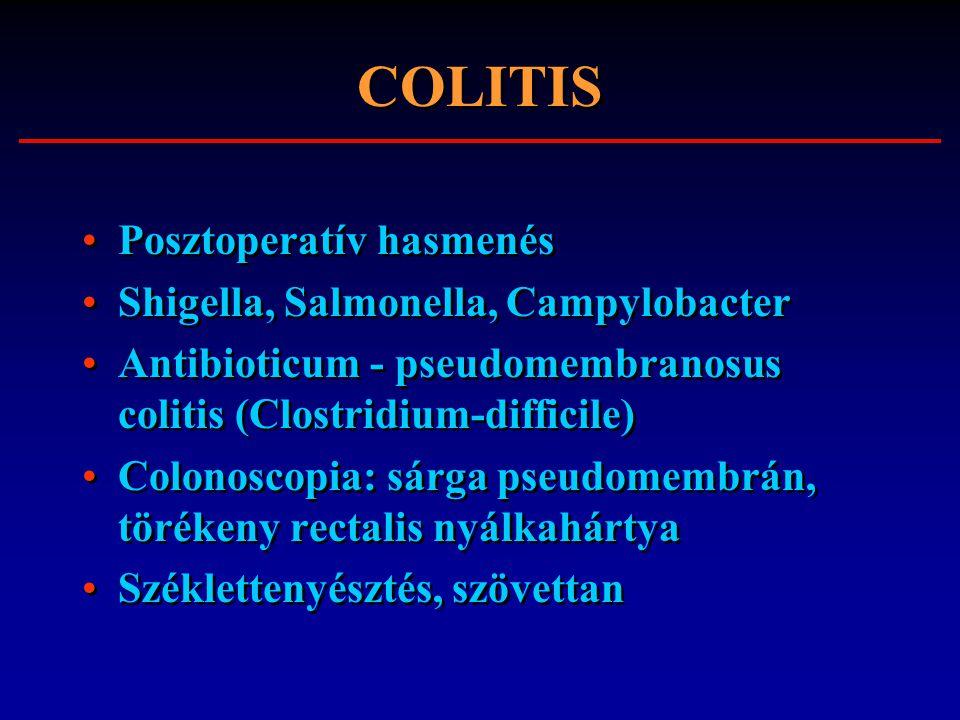 COLITIS Posztoperatív hasmenés Shigella, Salmonella, Campylobacter Antibioticum - pseudomembranosus colitis (Clostridium-difficile) Colonoscopia: sárg