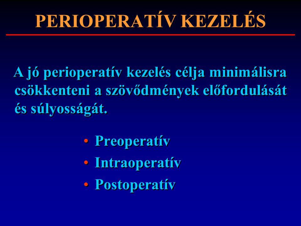 Preoperatív Intraoperatív Postoperatív Preoperatív Intraoperatív Postoperatív A jó perioperatív kezelés célja minimálisra csökkenteni a szövődmények e