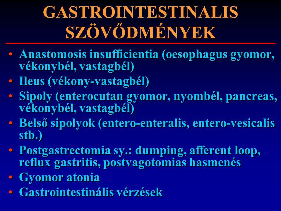 GASTROINTESTINALIS SZÖVŐDMÉNYEK Anastomosis insufficientia (oesophagus gyomor, vékonybél, vastagbél) Ileus (vékony-vastagbél) Sipoly (enterocutan gyom