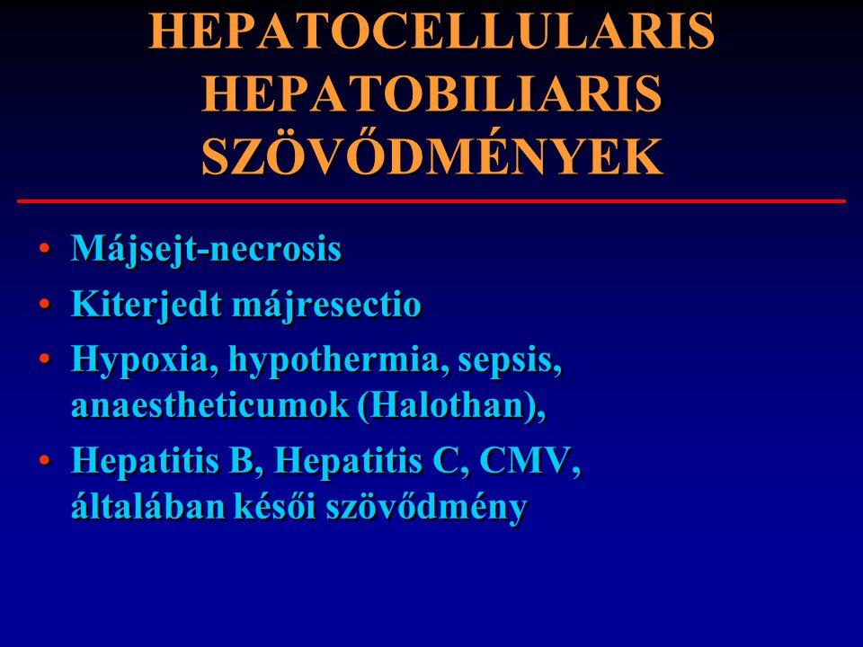 HEPATOCELLULARIS HEPATOBILIARIS SZÖVŐDMÉNYEK Májsejt-necrosis Kiterjedt májresectio Hypoxia, hypothermia, sepsis, anaestheticumok (Halothan), Hepatiti