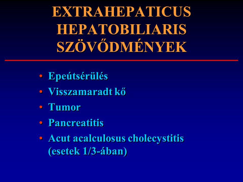 EXTRAHEPATICUS HEPATOBILIARIS SZÖVŐDMÉNYEK Epeútsérülés Visszamaradt kő Tumor Pancreatitis Acut acalculosus cholecystitis (esetek 1/3-ában) Epeútsérül