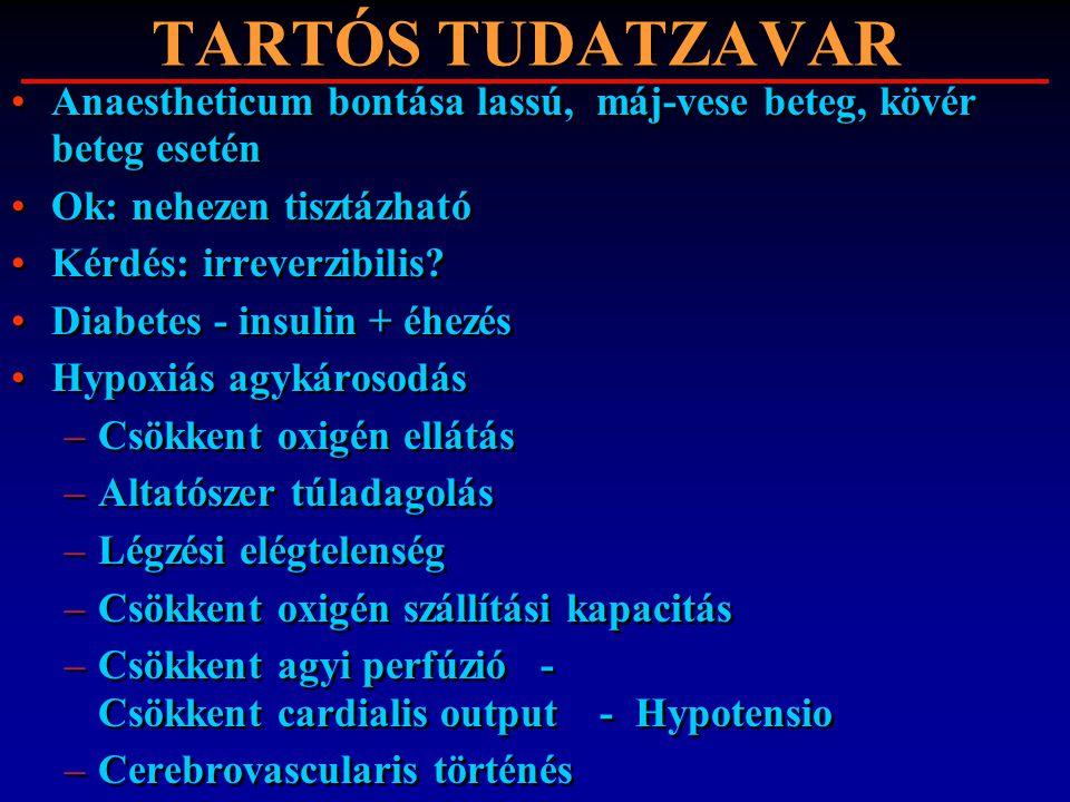 TARTÓS TUDATZAVAR Anaestheticum bontása lassú, máj-vese beteg, kövér beteg esetén Ok: nehezen tisztázható Kérdés: irreverzibilis? Diabetes - insulin +